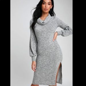 🆕LULUS Grey Cowl Neck Midi Sweater Dress NWOT